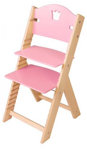 Dětská dřevěná rostoucí židle růžová s korunkou - chytrá židle Sedees