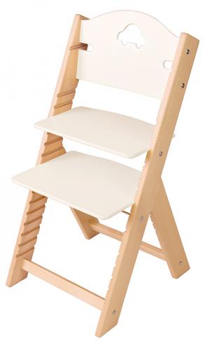 Dětská dřevěná rostoucí židle bílá s autíčkem - chytrá židle Sedees