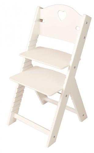 Dětská dřevěná rostoucí židle bílá se srdíčkem, bílé bočnice - chytrá židle Sedees
