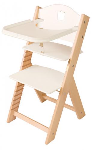 Dětská dřevěná jídelní židlička bílá s korunkou - chytrá židle Sedees