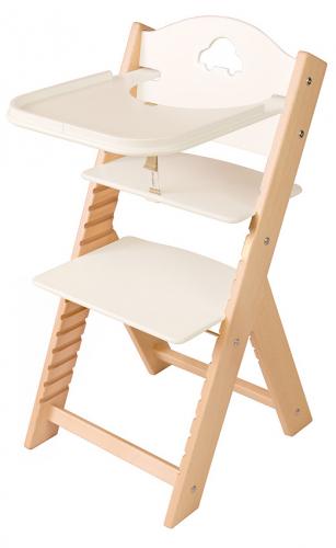 Dětská dřevěná jídelní židlička bílá s autíčkem - chytrá židle Sedees