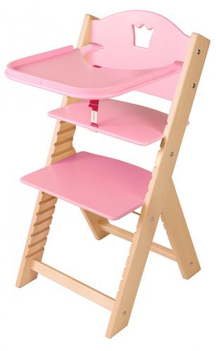 Dětská dřevěná jídelní židlička růžová s korunkou - chytrá židle Sedees