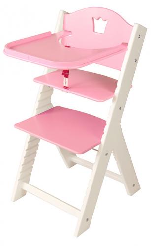 Dětská dřevěná jídelní židlička růžová s korunkou, bílé bočnice - chytrá židle Sedees