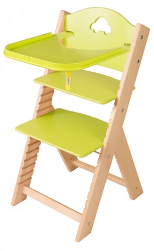 Dětská dřevěná jídelní židlička zelená s autíčkem - chytrá židle Sedees