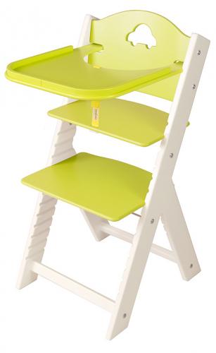 Dětská dřevěná jídelní židlička zelená s autíčkem, bílé bočnice - chytrá židle Sedees