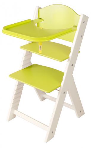 Dětská dřevěná jídelní židlička zelená bez obrázku, bílé bočnice - chytrá židle Sedees