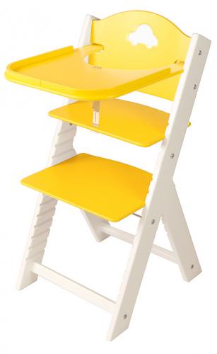 Dětská dřevěná jídelní židlička žlutá s autíčkem, bílé bočnice - chytrá židle Sedees