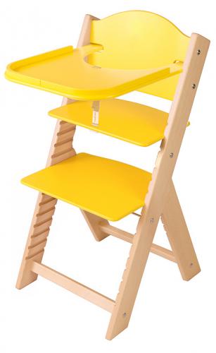 Dětská dřevěná jídelní židlička žlutá bez obrázku - chytrá židle Sedees