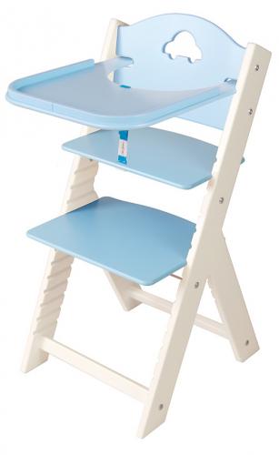 Dětská dřevěná jídelní židlička modrá s autíčkem, bílé bočnice - chytrá židle Sedees