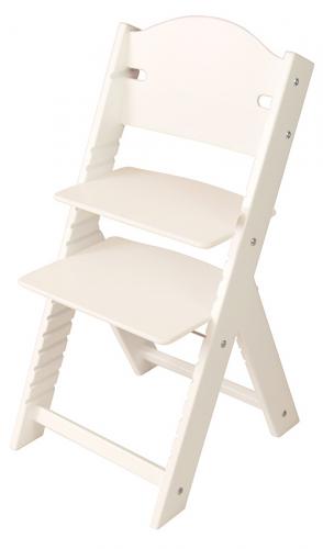 Dětská dřevěná rostoucí židle bílá bez obrázku, bílé bočnice - chytrá židle Sedees