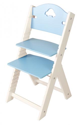 Dětská dřevěná rostoucí židle modrá s autíčkem, bílé bočnice - chytrá židle Sedees