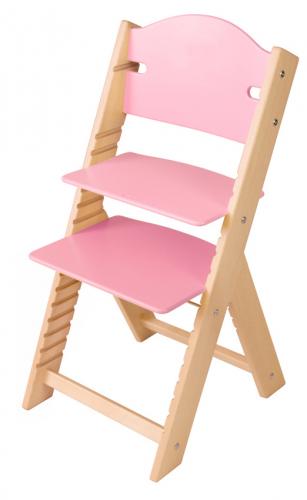 Dětská dřevěná rostoucí židle růžová bez obrázku- chytrá židle Sedees