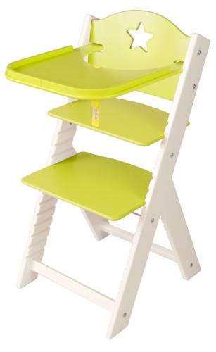 Dětská dřevěná jídelní židlička zelená s hvězdičkou, bílé bočnice - chytrá židle Sedees