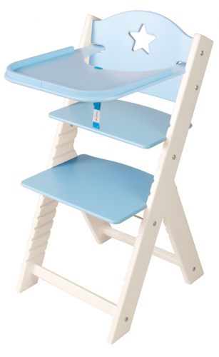 Dětská dřevěná jídelní židlička modrá s hvězdičkou, bílé bočnice - chytrá židle Sedees