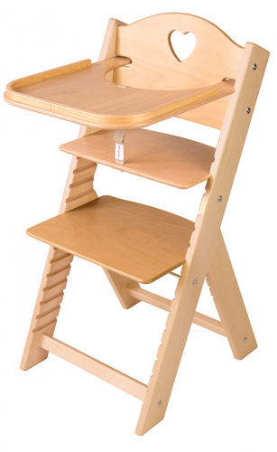 Dětská dřevěná jídelní židlička Sedees se srdíčkem, bez povrchové úpravy - chytrá židle Sedees