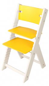 Chytrá rostoucí židle Sedees Line žlutá, bílé bočnice