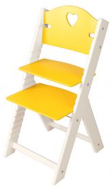 Dětská dřevěná rostoucí židle žlutá se srdíčkem, bílé bočnice - chytrá židle Sedees