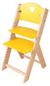 Dětská dřevěná rostoucí židle žlutá s korunkou - chytrá židle Sedees