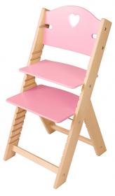 Dětská dřevěná rostoucí židle růžová se srdíčkem - chytrá židle Sedees