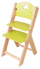 Dětská dřevěná rostoucí židle zelená s autíčkem - chytrá židle Sedees