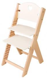 Dětská dřevěná rostoucí židle bílá se srdíčkem - chytrá židle Sedees