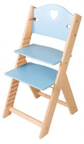 Dětská dřevěná rostoucí židle modrá se srdíčkem - chytrá židle Sedees