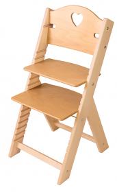 Dětská dřevěná rostoucí židle se srdíčkem, BEZ POVRCHOVÉ ÚPRAVY - chytrá židle Sedees