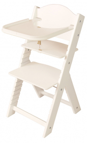 Dětská dřevěná jídelní židlička bílá bez obrázku, bílé bočnice - chytrá židle Sedees