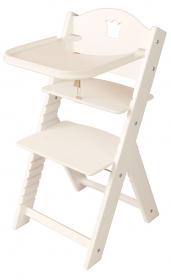 Dětská dřevěná jídelní židlička bílá s korunkou, bílé bočnice - chytrá židle Sedees