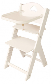 Dětská dřevěná jídelní židlička bílá s autíčkem, bílé bočnice - chytrá židle Sedees
