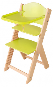 Dětská dřevěná jídelní židlička zelená bez obrázku - chytrá židle Sedees