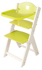 Dětská dřevěná jídelní židlička zelená s korunkou, bílé bočnice - chytrá židle Sedees