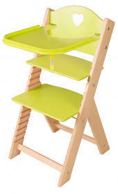 Dětská dřevěná jídelní židlička zelená se srdíčkem - chytrá židle Sedees