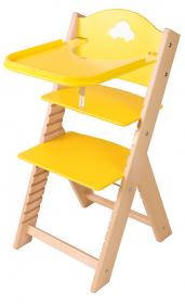 Dětská dřevěná jídelní židlička žlutá s autíčkem - chytrá židle Sedees