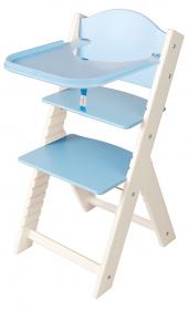 Dětská dřevěná jídelní židlička modrá bez obrázku, bílé bočnice - chytrá židle Sedees