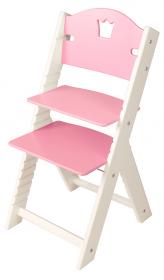 Dětská dřevěná rostoucí židle růžová s korunkou, bílé bočnice - chytrá židle Sedees