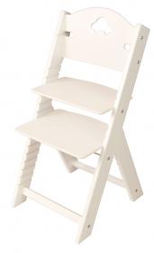 Dětská dřevěná rostoucí židle bílá s autíčkem, bílé bočnice - chytrá židle Sedees