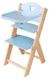 Dětská dřevěná jídelní židlička modrá s korunkou - chytrá židle Sedees