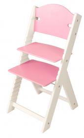 Dětská dřevěná rostoucí židle růžová bez obrázku, bílé bočnice - chytrá židle Sedees