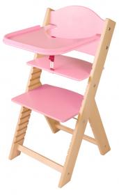 Dětská dřevěná jídelní židlička růžová bez obrázku - chytrá židle Sedees
