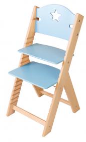 Dětská dřevěná rostoucí židle modrá s hvězdičkou - chytrá židle Sedees