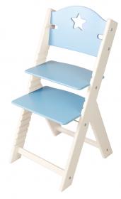 Dětská dřevěná rostoucí židle modrá s hvězdičkou, bílé bočnice - chytrá židle Sedees