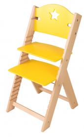 Dětská dřevěná rostoucí židle žlutá s hvězdičkou - chytrá židle Sedees