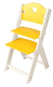Dětská dřevěná rostoucí židle žlutá s hvězdičkou, bílé bočnice - chytrá židle Sedees