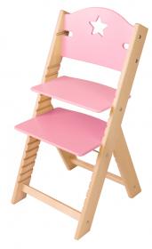 Dětská dřevěná rostoucí židle růžová s hvězdičkou - chytrá židle Sedees