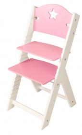 Dětská dřevěná rostoucí židle růžová s hvězdičkou, bílé bočnice - chytrá židle Sedees