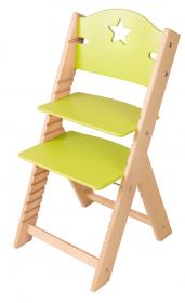 Dětská dřevěná rostoucí židle zelená s hvězdičkou - chytrá židle Sedees