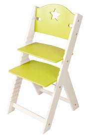 Dětská dřevěná rostoucí židle zelená s hvězdičkou, bílé bočnice - chytrá židle Sedees