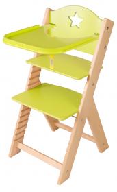 Dětská dřevěná jídelní židlička zelená s hvězdičkou - chytrá židle Sedees