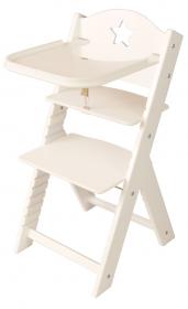 Dětská dřevěná jídelní židlička bílá s hvězdičkou, bílé bočnice - chytrá židle Sedees